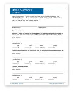 PPE Workplace Hazard Assessment Checklist
